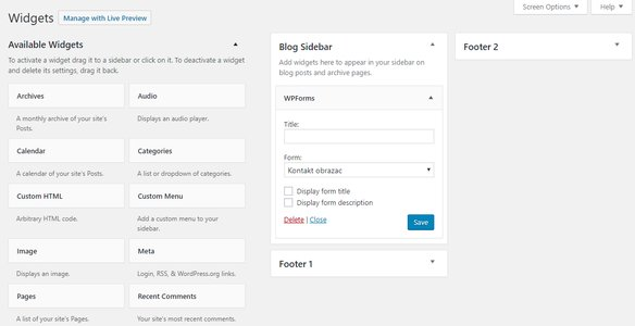 widget kontakt forma footer sidebar