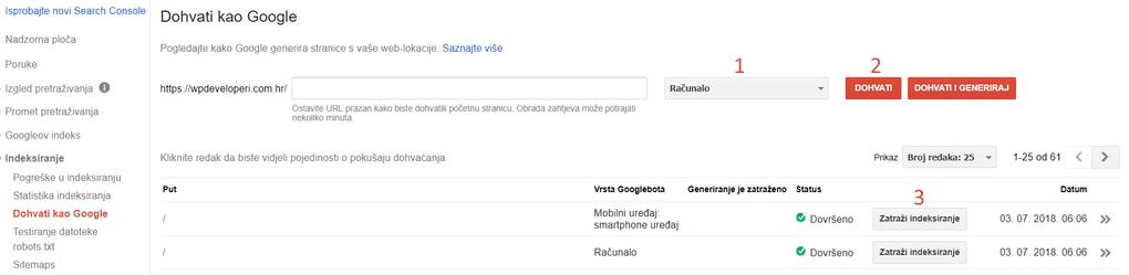 dohvati kao Google opcija u search console