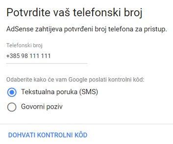 potvrdite broj telefona