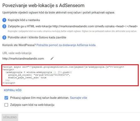 povezivanje web stranice s adsenseom