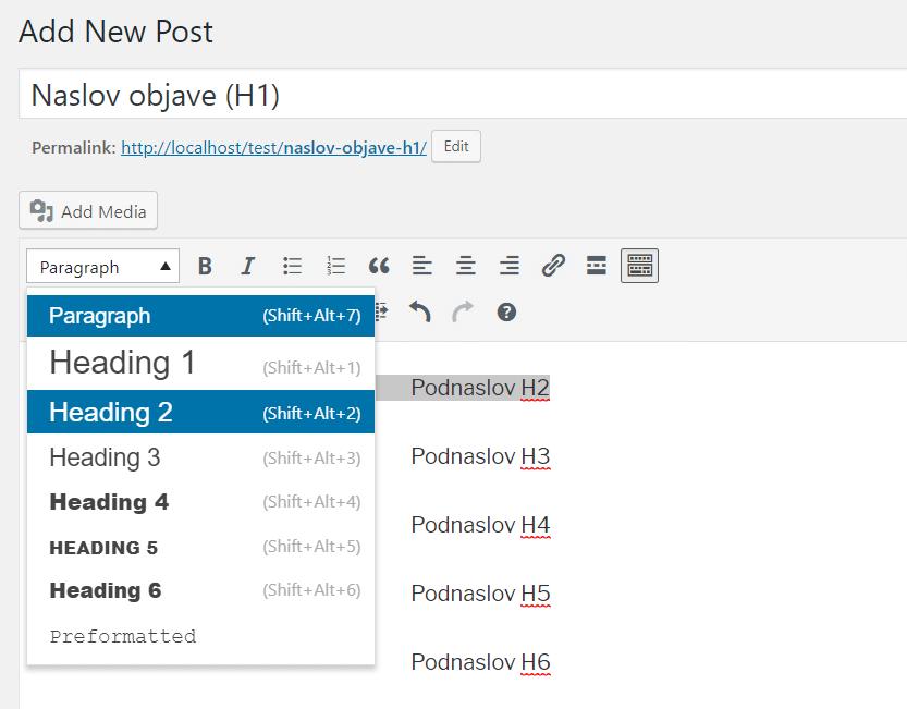 izrada podnaslova u wordpress editoru teksta