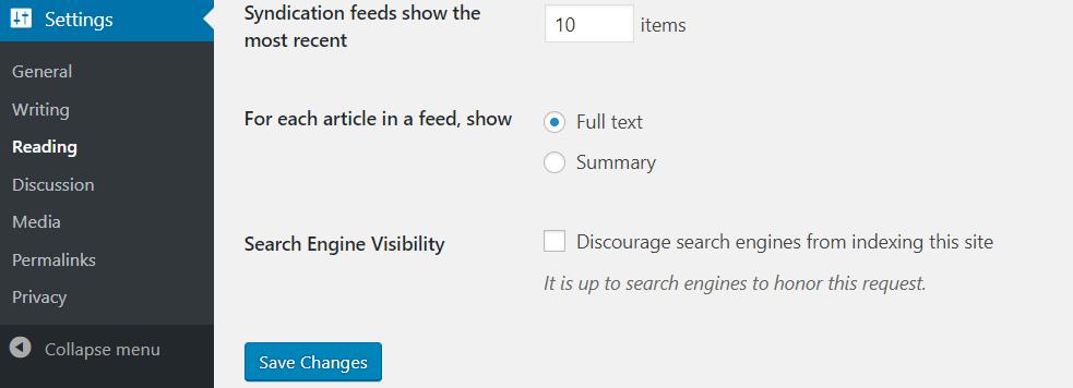 podešenje vidljivosti u wordpressu